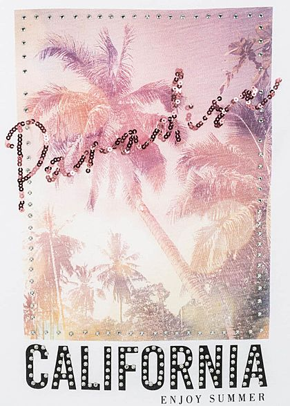Hailys Damen Casual T-Shirt Paradise California Print Strasssteine Pailletten weiss