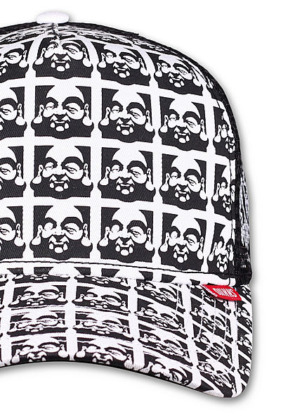 Djinns Herren Trucker Snapback Cap Mesh-Detail hinten Allover Buddha Print schwarz weiss