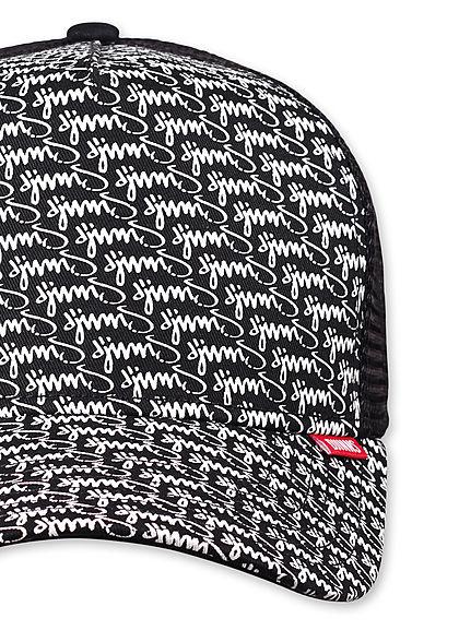 Djinns Herren Trucker Snapback Cap Mesh-Detail hinten Allover Logo Print schwarz
