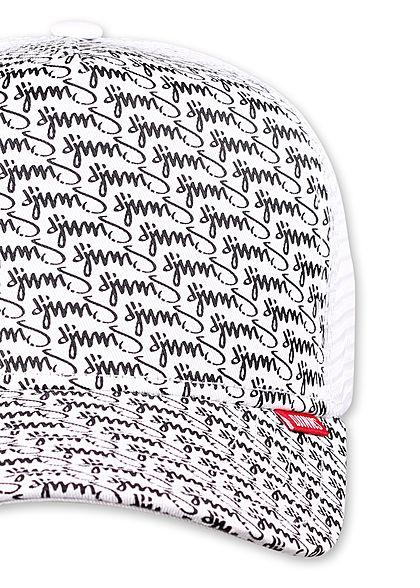 Djinns Herren Trucker Snapback Cap Mesh-Detail hinten Allover Logo Print weiss