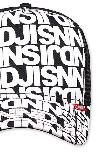Djinns Herren Trucker Snapback Cap Mesh-Detail hinten Allover Logo Print schwarz weiss