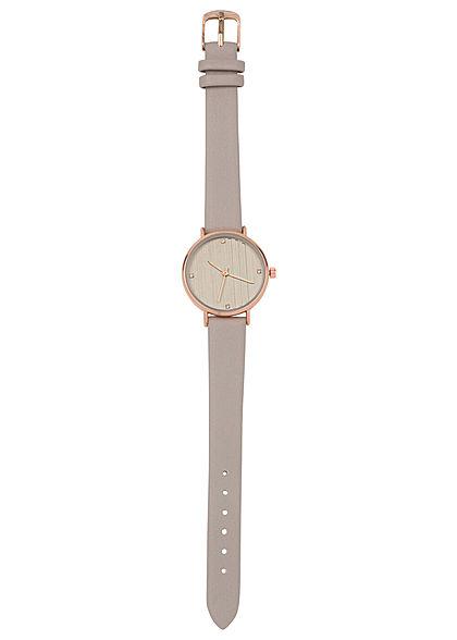 Seventyseven Lifestyle Damen Uhr Kunstlederarmband Strasssteine taupe beige braun