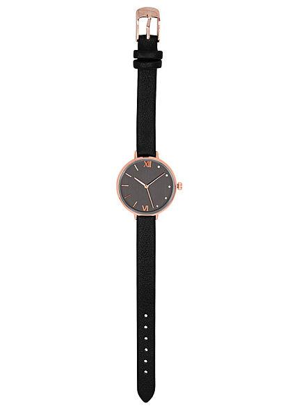 Seventyseven Lifestyle Damen Uhr Kunstlederarmband teilw. Strasssteine schwarz