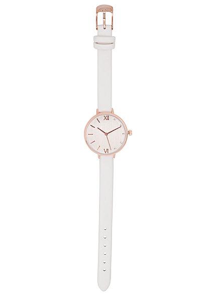 Seventyseven Lifestyle Damen Uhr Kunstlederarmband teilw. Strasssteine weiss