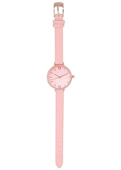 Seventyseven Lifestyle Damen Uhr Kunstlederarmband teilw. Strasssteine rose