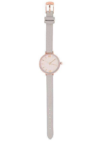 Seventyseven Lifestyle Damen Uhr Kunstlederarmband teilw. Strasssteine taupe beige braun