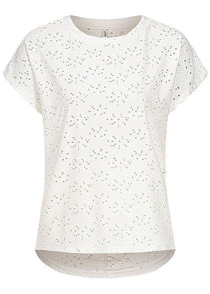 ONLY Damen NOOS Oversized T-Shirt Blumen Lochmuster Vokuhila cloud dancer weiss