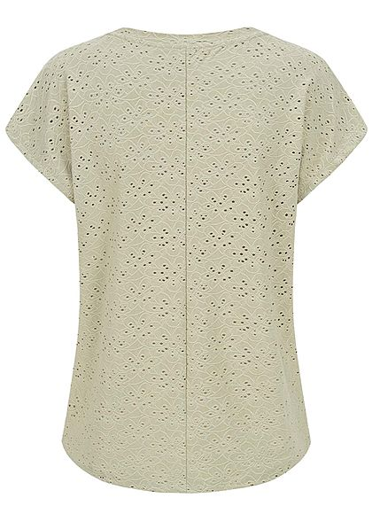 ONLY Damen NOOS Oversized T-Shirt Blumen Lochmuster Vokuhila desert sage grün