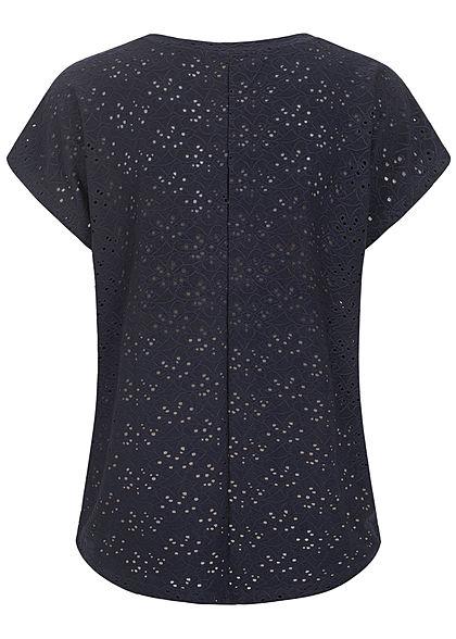 ONLY Damen NOOS Oversized T-Shirt Blumen Lochmuster Vokuhila night sky navy blau