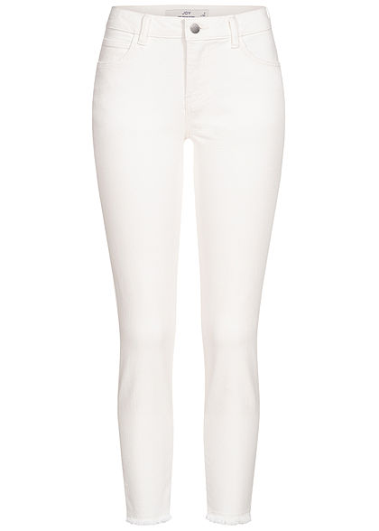 JDY by ONLY Damen Ankle Skinny Regular Fit Jeans 5-Pockets Fransen am Saum weiss denim