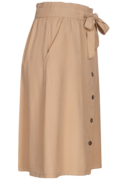 Tom Tailor Damen Midi Twill Rock inkl. Bindegürtel Knopfleiste desert linen beige