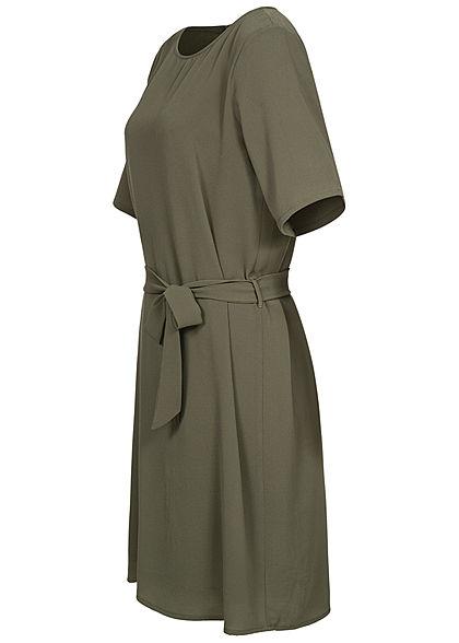 JDY by ONLY Damen NOOS T-Shirt Mini Kleid inkl. Bindegürtel kalamata oliv grün
