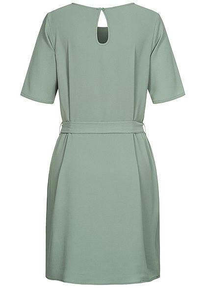 JDY by ONLY Damen NOOS T-Shirt Mini Kleid inkl. Bindegürtel chinois grün