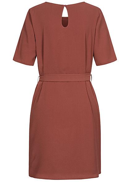 JDY by ONLY Damen NOOS T-Shirt Mini Kleid inkl. Bindegürtel apple butter bordeaux rot