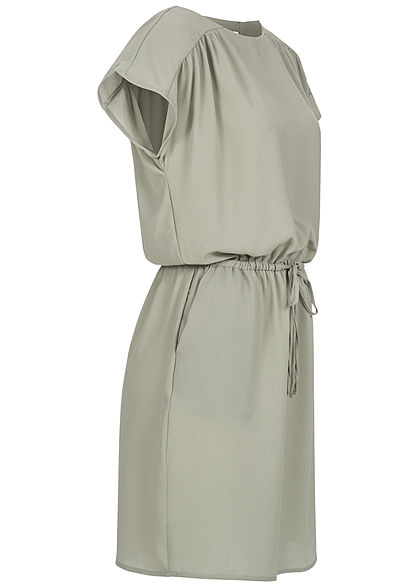 Vero Moda Damen Mini Kleid Tunnelzug Riemendetails hinten desert sage grün