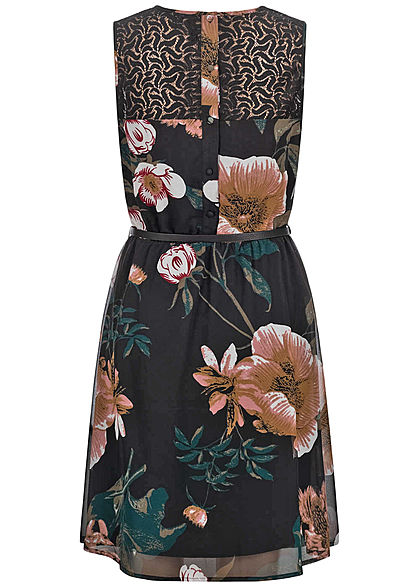 Vero Moda Damen Mini Kleid Spitzenbesatz inkl. Gürtel Blumen Muster schwarz
