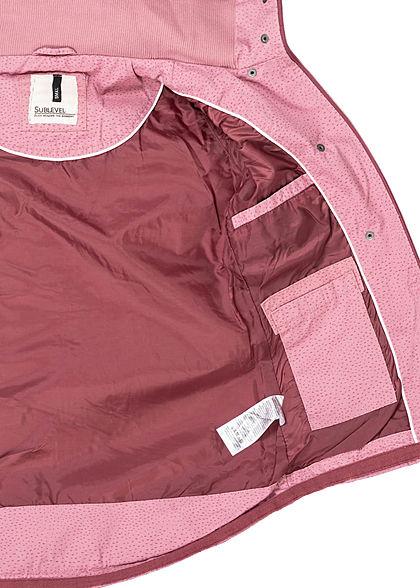 Sublevel Damen Übergangs Parka Jacke Kapuze Punkte Muster 2-Pockets mauve rosa