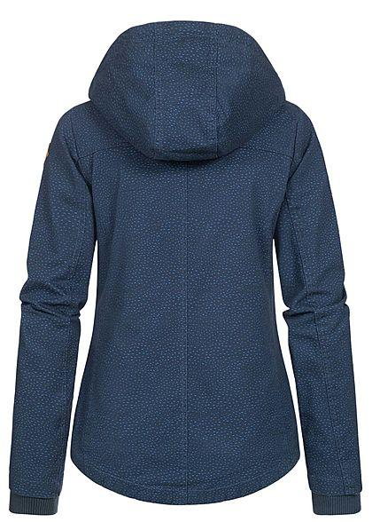 Sublevel Damen Übergangs Parka Jacke Kapuze Punkte Muster 2-Pockets indigo blau