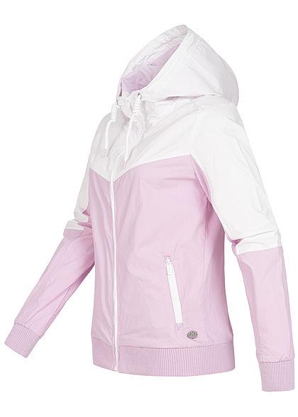 Sublevel Damen 2-Tone Zip Jacke Windbreaker Kapuze 2-Pockets frost lavender weiss