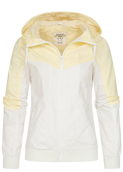 Sublevel Damen 2-Tone Zip Jacke Windbreaker Kapuze 2-Pockets gelb fog weiss