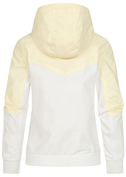 Sublevel Damen 2-Tone Zip Jacke Windbreaker Kapuze 2-Pockets gelb fog weiss