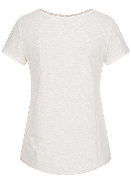 ONLY Damen V-Neck T-Shirt mit Lurex Details Vokuhila cloud dancer weiss