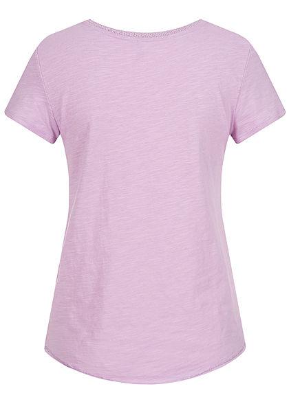 ONLY Damen V-Neck T-Shirt mit Lurex Details Vokuhila orchid bloom lila silber