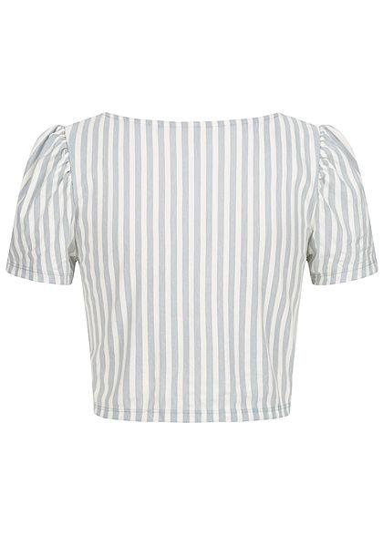 ONLY Damen V-Neck Crop T-Shirt mit Pufferärmeln Streifen Muster faded denim
