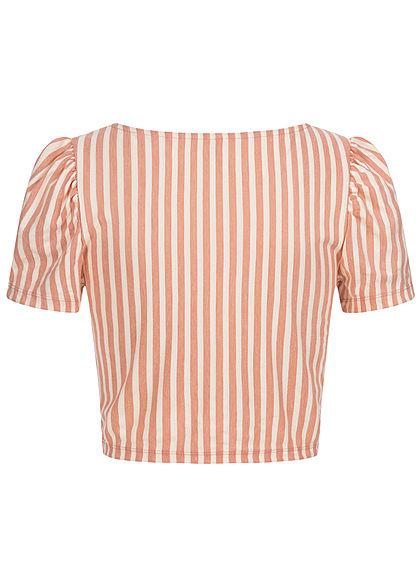 ONLY Damen V-Neck Crop T-Shirt mit Pufferärmeln Streifen Muster peach melba