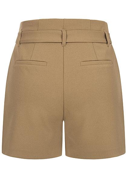 ONLY Damen High-Waist Shorts inkl. Bindegürtel 2-Pockets elmwood hellbraun