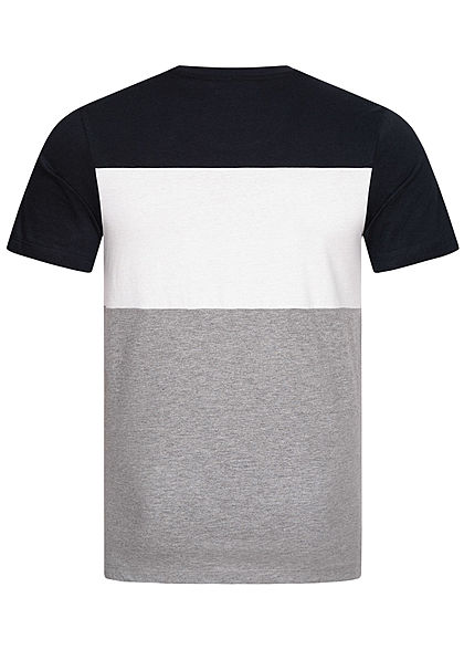 Jack and Jones Herren NOOS Colorblock T-Shirt Logo Print navy blazer blau weiss
