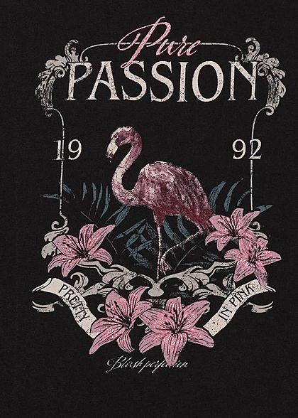 ONLY Damen Tank Top Rollsaum Pure Passion Flamingo Print schwarz
