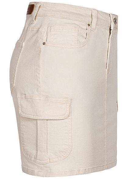 ONLY Damen NOOS Mini Cargo Jeans Rock 7-Pockets pumice stone beige