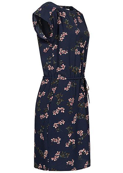 Vero Moda Damen NOOS Mini Krepp Kleid Tunnelzug Blumen Muster navy blazer blau