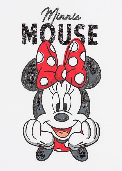 Hailys Damen T-Shirt Minnie Mouse Print Pailletten weiss schwarz