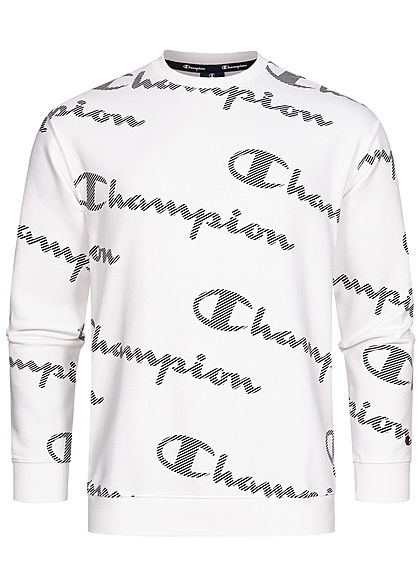 Champion Herren Sweater All Over Logo Print weiss schwarz