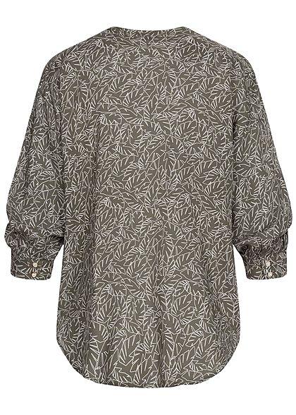 Tom Tailor Damen 3/4-Arm Blusen Shirt Knopfleiste Zweig Muster khaki grün weiss
