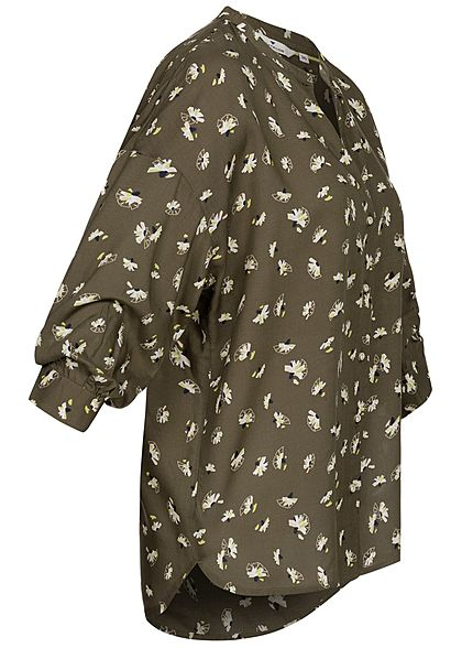 Tom Tailor Damen 3/4-Arm Blusen Shirt Knopfleiste Floraler Print khaki weiss