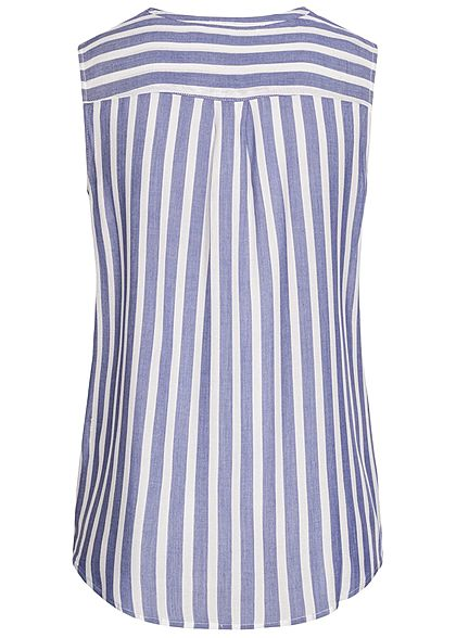 Tom Tailor Damen Blusen Top 2 Brusttaschen Streifen Muster off weiss blau