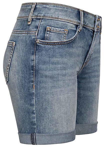 Tom Tailor Damen Bermuda Jeans Shorts 5-Pockets random bleached medium blau denim