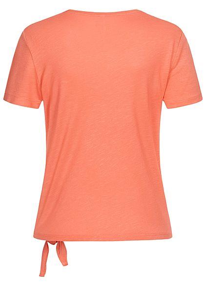 ONLY Damen T-Shirt Bindedetail seitlich vorne burnt coral orange