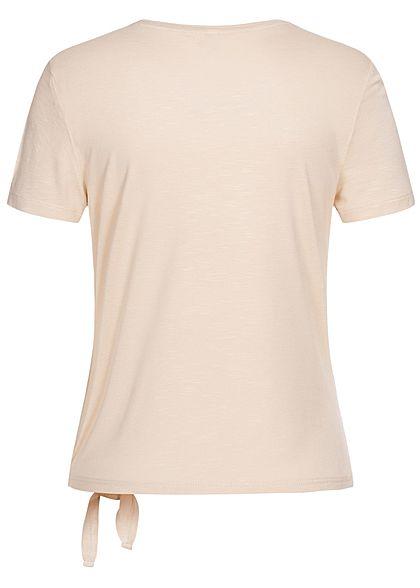 ONLY Damen T-Shirt Bindedetail seitlich vorne moonbeam beige