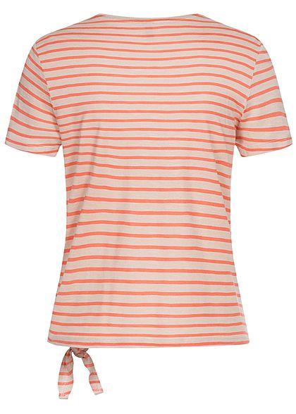 ONLY Damen T-Shirt Bindedetail seitlich vorne Streifen Muster moonbeam beige orange