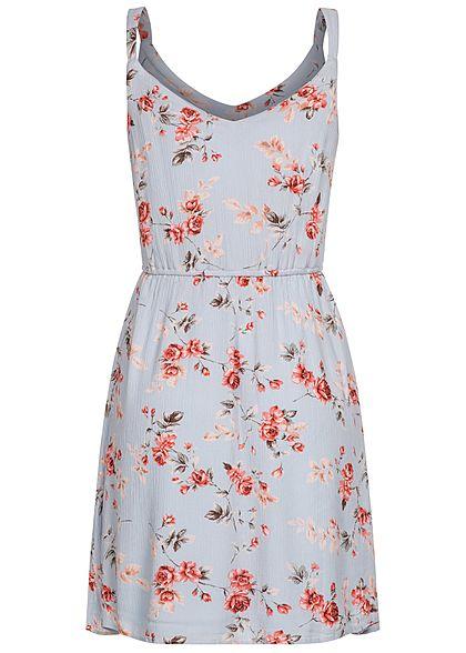 ONLY Damen NOOS V-Neck Mini Krepp Kleid Rosen Muster cashmere blau