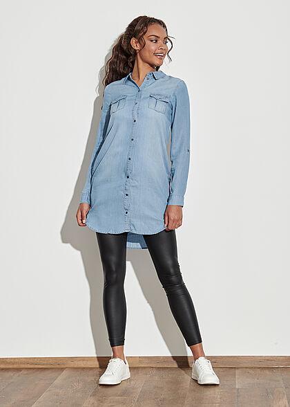 Vero Moda Damen NOOS Denim Turn-Up Blusen Kleid Knopfleiste hell blau denim