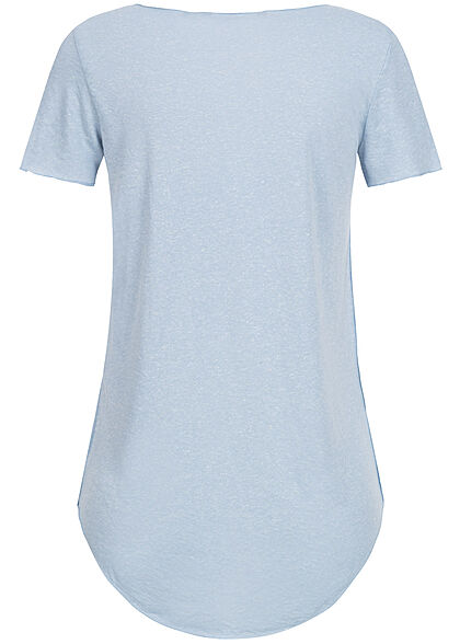 Vero Moda Damen Vokuhila T-Shirt mit Rollsaumkante nebel blau