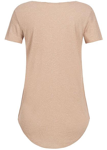 Vero Moda Damen Vokuhila T-Shirt mit Rollsaumkante nomad beige