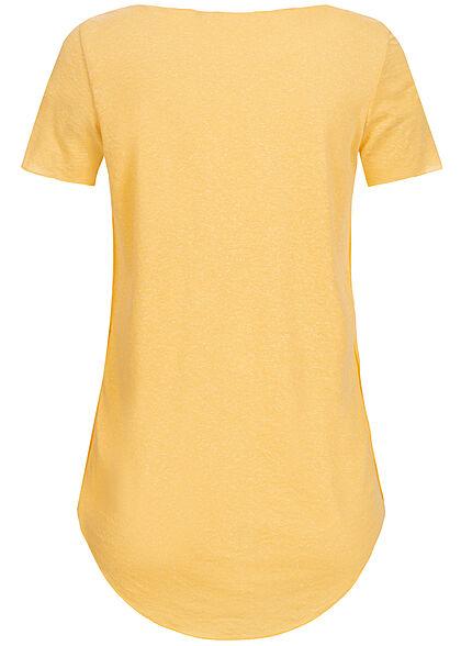 Vero Moda Damen Vokuhila T-Shirt mit Rollsaumkante cornsilk gelb