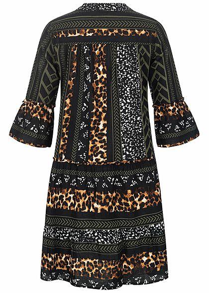 Vero Moda Damen 3/4 Arm V-Neck Tunica Kleid mit Leo Print schwarz