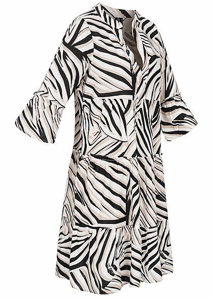 Vero Moda Damen 3/4 Arm V-Neck Tunica Kleid mit Zebra Print snow weiss schwarz